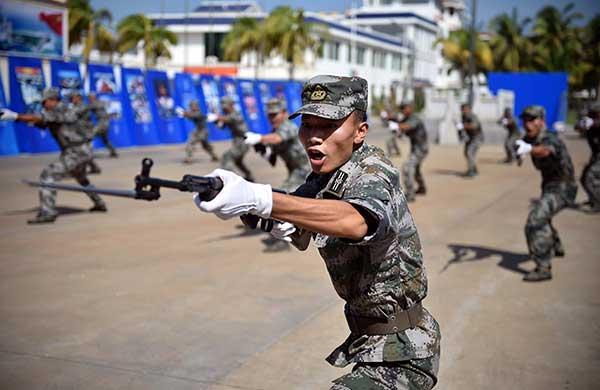 Maritime militia in Sansha, Hainan province, demonstrate their training in July